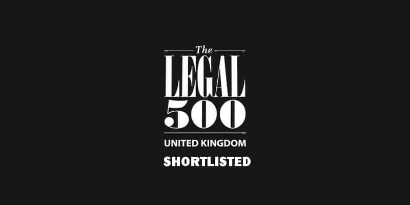 We are delighted to be nominated in 2 categories for the Legal 500 Awards 2019