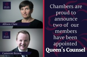 Congratulations to members Allison Clare and Cameron Brown who have been appointed Queen's Counsel